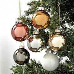 Mixed Metals Glass Ornaments - Set of 12 - Ballard Designs Colorful Christmas Tree, Christmas Colors, Xmas Tree, Rose Gold Christmas Tree, Holiday Tree, Noel Christmas, Christmas Baubles, Christmas Globes, Family Christmas Gifts