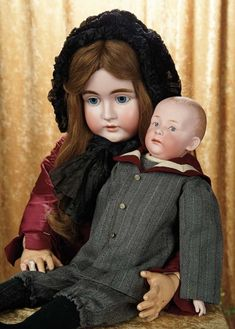 A Matter of Circumstance: 34 Grand-Sized German Bisque Child by Kestner in Fine Antique Costume