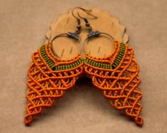 Orange Grape Shaped Macrame Earrings