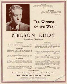 "1934 Nelson Eddy Photo American Baritone ""Winning of The West"" Vintage Trade Ad   eBay"