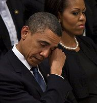"""apsies: """" President Barack Obama wipes away tears as he sits next to First Lady Michelle Obama at the funeral service for Dr. Dorothy Height at Washington National Cathedral in Washington, DC, April."""