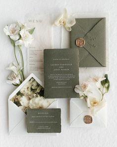 Green Wedding Invitations, Wedding Invitation Inspiration, Wedding Invitation Suite, Wedding Stationary, Invitation Design, Wedding Inspiration, Romantic Wedding Stationery, Wedding Suite, Invite