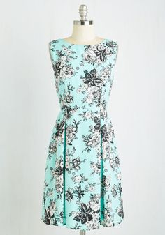 To Boldly Grove Dress. Your ongoing mission is to adorn yourself in the most delicate of floral frocks everyday. #blue #modcloth