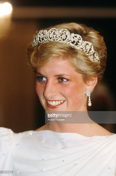 NOVEMBER 16: Diana, Princess of Wales wearing the Spencer Tiara and a dress designed by the Emanuels at a State Banquet in Bahrain