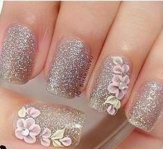 Nails gorgeous nails 2020 gorgeous nails glitter nail art gelish nail polish white nails with rhinestones Acrylic Nail Art, 3d Nail Art, 3d Nails, Fancy Nails, Cute Nails, Pretty Nails, Fabulous Nails, Gorgeous Nails, Winter Nail Designs