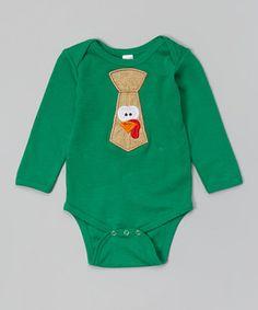 Another great find on #zulily! Green Turkey Tie Bodysuit - Infant by Petunia Petals #zulilyfinds