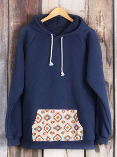 Get new fall fashion within one week,and only $26.99! This hooded sweater is all about loving you and you will be all about loving this sweater! The navy blue and printing at pocket is so classic and easily styled! Cupshe.com has picked amazing items up for you.