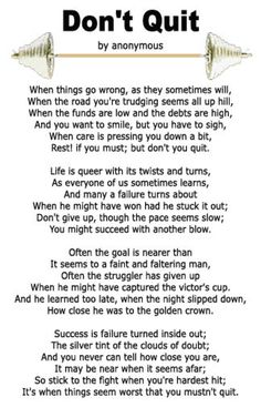"Don't Give Up Poem | Want a copy of the ""Don't Quit"" poem, right click on the image ..."