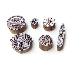 Sun and Lotus Hand Carved Designs Wooden Printing Stamps (Set of 6) #RoyalKraft…
