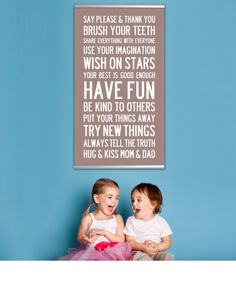 Kids Room Art, Children Decor. Kids Family Rules Playroom Art. Childrens Wall Art House Rules. READY to HANG 15.5x30 inch Canvas Kids Art.. $125.00, via Etsy.