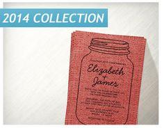 Black Red Rustic Burlap Mason Jar Invite