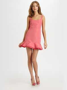 RED Valentino  Faille Ruffled Dress Perfect Bridesmaids dress that is gorgeous to wear after the wedding.    A sweet piece with a ruffled hem and contrast trim.