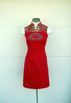 Vintage Cotton Embroidered Cheongsam Sheath Dress by rileybella123, $35.00