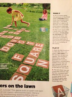 Giant word game: we could make the letters on posterboard, and play it outside or an a cleared area of the library floor.
