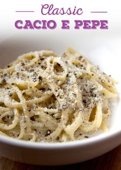 Make tasty cacio e pepe using ingredients you probably already have at home. All it takes to make this recipe is pasta, coarse black pepper and Pecorino cheese.