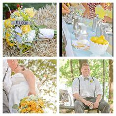 Blue yellow aqua wedding outdoors. Outdoor wedding  hay bail seating