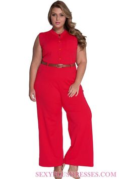 Crystal Red Button Front Belted Plus Size Jumpsuits