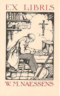 Ex Libris made by Anton Pieck  (Dutch, 1895-1987) ~ Anton Franciscus Pieck was a Dutch painter, artist and graphic artist. Pieck married Jo van Poelvoorde (died 1983) in 1922. The couple had three children, Elsa, Anneke and Max (died 1986). His works are noted for their nostalgic or fairy tale-like character and are widely popular, appearing regularly on cards and calendars.