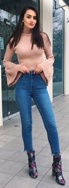 #spring #fashion /  Pink Knit / Skinny Jeans / Black Printed Booties