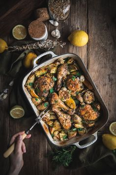 Lemon Potato Chicken by Eva Kosmas Flores A round up of all the recipes that have been updated so far in 2020 including lemon meringue pie lemon potato chicken lemon bars and rosemary cake. Greek Lemon Potatoes, Greek Lemon Chicken, Fall Recipes, Healthy Recipes, Healthy Food, Dinner Recipes, Easy Family Meals, Gluten Free Chicken, Roasting Pan