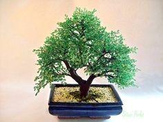 Grand bonsaï en perles de rocaille - Arbre en perles  : Accessoires de maison par botanic-perles