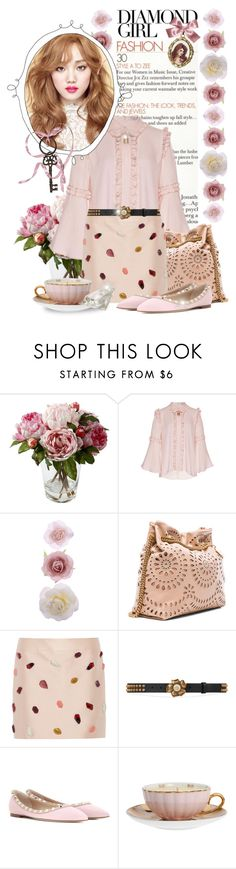 """""""#207. [like i'm in a dream]"""" by yuuurei ❤ liked on Polyvore featuring VIVETTA, Accessorize, STELLA McCARTNEY, Gucci, Valentino, MOR Cosmetics, Jayson Home, Pink, girly and bellsleeves"""
