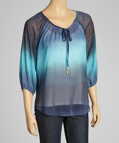 Take a look at this Aqua & Blue Ombré Peasant Top by Kay Celine on #zulily today! $40 !!