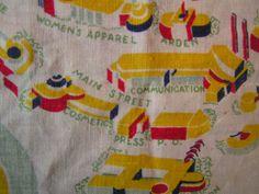 World's Fair 1939 tablecloth detail