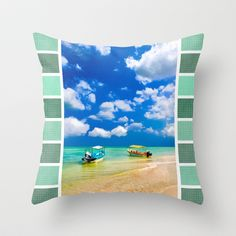 Colorful boats on a tropical beach in Mexico Throw pillow