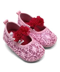This Carnation & Fuchsia Flower Lace Flat is perfect! #zulilyfinds