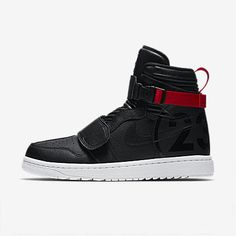 """Air Jordan 1 Moto """"Bred"""" colorway sneaker Release Date black red leather Bred White Straps Info Nike Shoes Outfits, Men's Shoes, Shoes Sneakers, Hype Shoes, Black Sneakers, Black Nike Shoes, Nike Air Jordans, Shoes With Jeans, Basketball Shoes"""