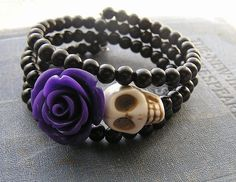 Day of the Dead Bracelet Wrap Around Memory Wire by shabbyskull, $12.00