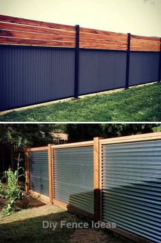 Diy Zaun Ideen und Gartendekoration - For the Home - Diy Backyard Fence, Privacy Fence Landscaping, Privacy Fence Designs, Privacy Fences, Diy Fence, Backyard Landscaping, Patio Fence, Corrugated Metal Fence, Sheet Metal Fence