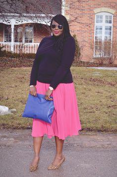 Plus size fashion for women: pinspiration #fashion #pinkskirt #howtowear
