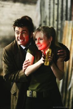 The Doctor and Jenny Doctor Who Series The Doctor's Daughter. OR: David Tennant and his wife, Georgia! Sooo cool- never knew- have to watch that episode again knowing that! Doctor Who Series 4, Serie Doctor, David Tennant Georgia Moffett, 10th Doctor, Torchwood, Dr Who, Superwholock, Tv Series, The Best