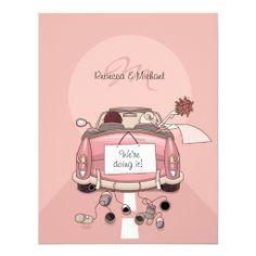 Cute Bride & Groom Pink Getaway Car Invitations