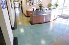 Bomanite Custom Concrete Polishing Systems with Patene Teres Concrete Dye polished floor at the Institute of Technology. Concrete Dye, Polished Concrete, Pervious Concrete, Exposed Aggregate, Office Entrance, Flooring, Technology, Gallery, Interior