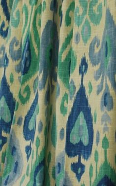Django Turquoise by Richloom.  An Ikat damask drapery fabric in blue, green and cream.  Uses for this 55% Linen | 45% Rayon fabric include draperies , curtains , panels , valances , scarves , swags , pillows , bedding , lightweight upholstery.