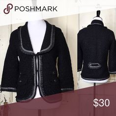 "White House Black Market Sweater Jacket Black sweater jacket with silver metallic threads 3/4 sleeves with hook and eye closure at front faux pockets at front flawless. Bust 36"" Length 23"" Arm Length 20"" Dry Clean Only white house black market Jackets & Coats Blazers"