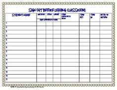 Bathroom Sign Out Ideas this is a hall pass sign-out sheet created with a large top margin