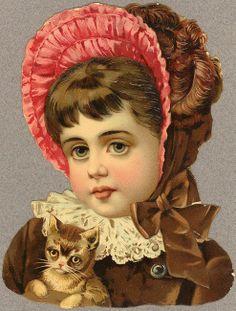 Victorian Scrap — Girl with  a Cat  (493x650)