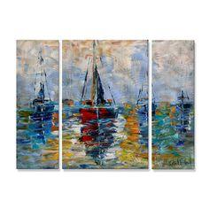 Karen Tarlton 'Harbor Boats' Metal Wall Decor | Overstock.com Shopping - The Best Deals on Metal Art