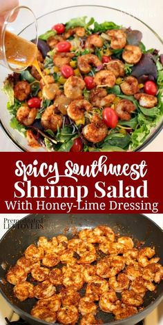 A quick and easy recipe for Southwest Shrimp Salad with a homemade Spicy Honey-Lime Salad Dressing. A healthy salad recipe for lunch or dinner. salad recipes Southwest Shrimp Salad with Spicy Honey-Lime Dressing Salad Recipes Healthy Lunch, Shrimp Salad Recipes, Best Salad Recipes, Salad Recipes For Dinner, Dinner Salads, Easy Salads, Easy Healthy Recipes, Quick Easy Meals, Shrimp Salads