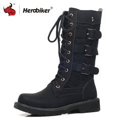 bd5404d03639e0 HEROBIKER Motorcycle Boots Moto Boots Men Artificial Leather Motocross Boots  Black Motorbike Riding Shoes Accessories