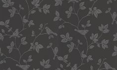 Trailing Glitter Birds (40588) - Albany Wallpapers - An all over wallpaper design featuring an elegant trailing pattern, featuring foliage and birds. Shown here in black with silver glitter. Other colourways are available. Please request a sample for a true colour match.