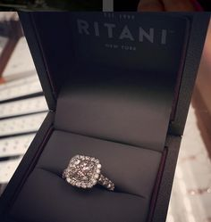 dd4341709 Ritani french-set cushion halo engagement ring in platinum Princess Cut  Rings, Beautiful Rings