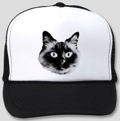 Trucker Hat with Esther The Cat Face Silk Screen