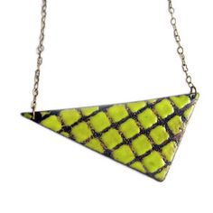 Enamel Necklace Chartreuse now featured on Fab.