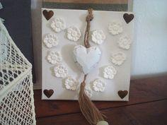 Cadre 3D coeur de fleurs et  coeur bois  déco création