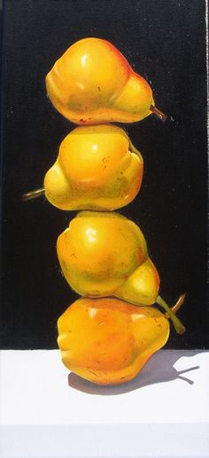 """Stacked Pears"", 20"" x 9"", oil, by Suzy Smith"